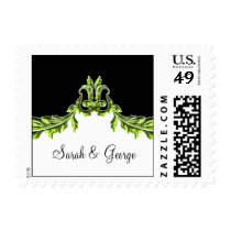 flourish green elegant wedding stamps