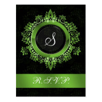 flourish green monogram elegant wedding RSVP Postcard