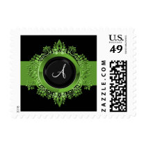 flourish green monogram elegant wedding stamps