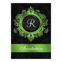 flourish green monogram  wedding Invitations