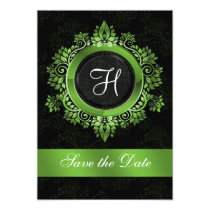 flourish green monogram wedding save the date card
