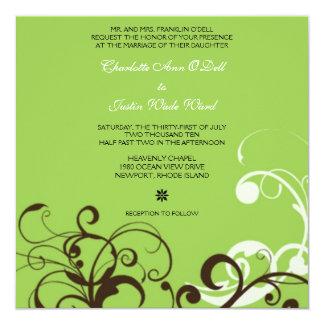 flourish; green wedding card