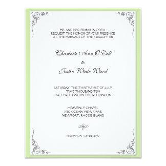 flourish green; wedding card