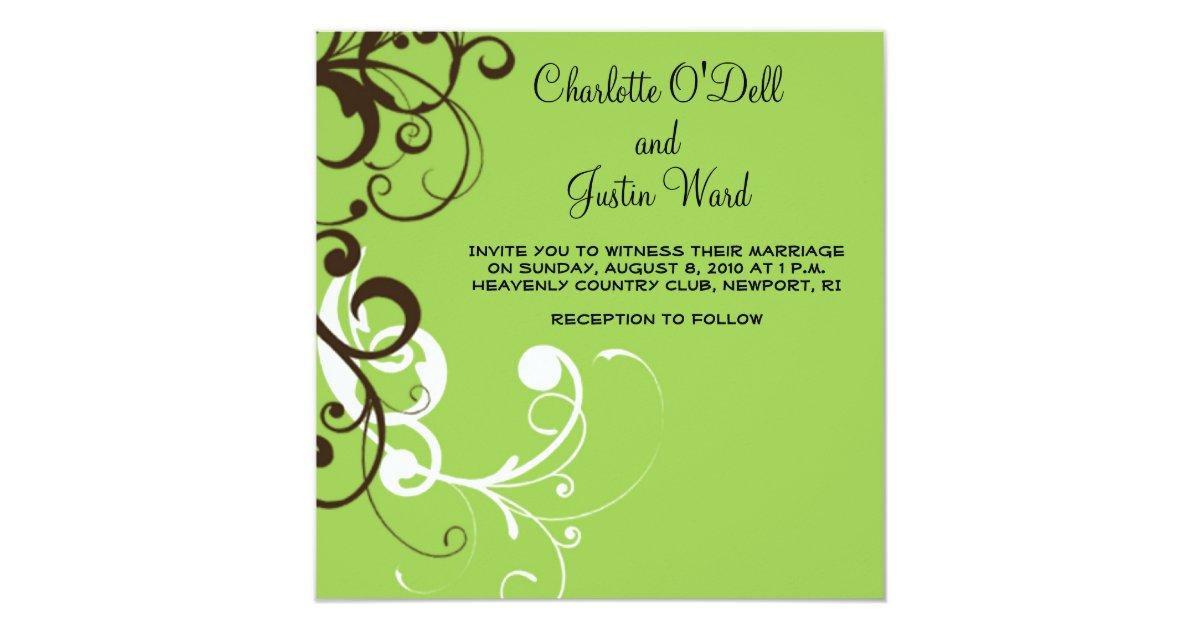 Flourish Green Wedding Card