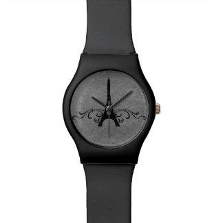 Flourish gris del francés del vintage relojes