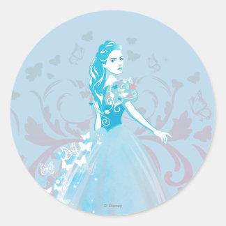 Flourish imaginario de la mariposa de Cenicienta Pegatina Redonda