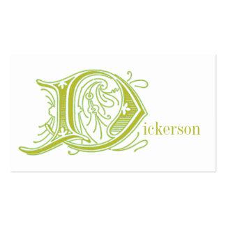 Flourish Letter D Monogrammed Business Cards