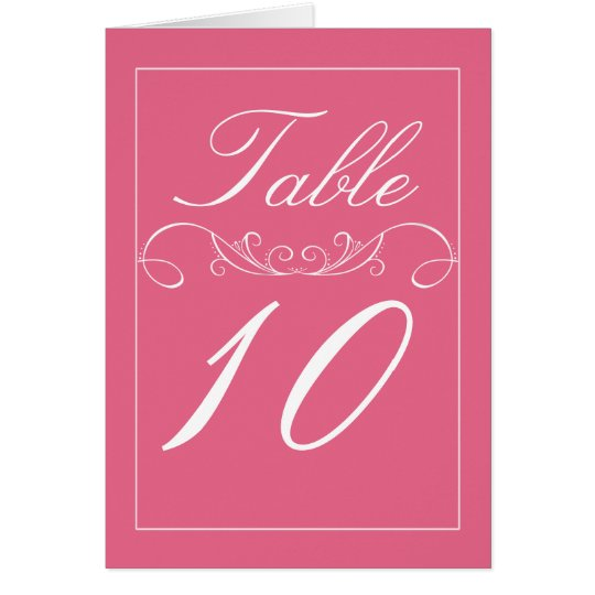 Flourish Modern Pink Wedding Table Number Cards