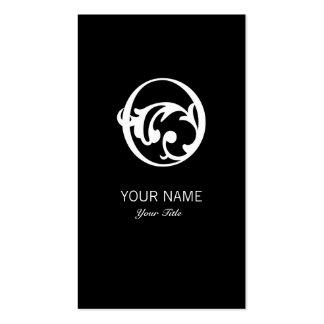 FLOURISH MONOGRAM  LETTER O BLACK BUSINESS CARD
