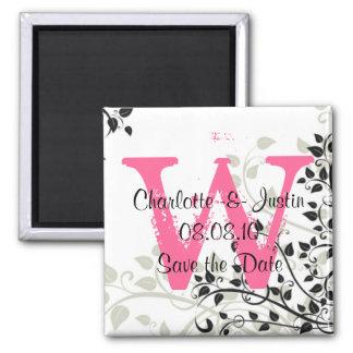 flourish monogram; save the date 2 inch square magnet