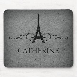 Flourish Mousepad del francés del vintage, gris Alfombrillas De Ratones
