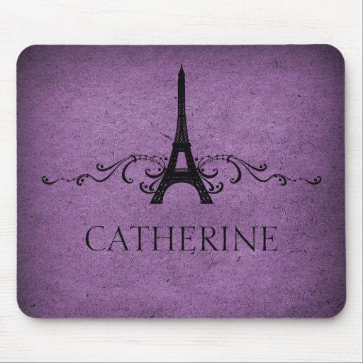 Flourish Mousepad del francés del vintage, púrpura
