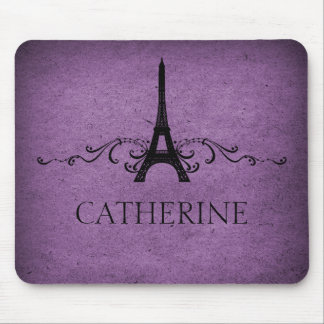 Flourish Mousepad del francés del vintage púrpura Tapetes De Ratón