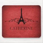 Flourish Mousepad del francés del vintage, rojo Tapete De Ratones