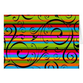 Flourish multicolor de la raya tarjeta de felicitación