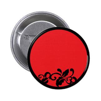 flourish negro y rojo pin redondo 5 cm