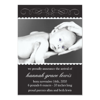 Flourish New Baby Announcements (Black)