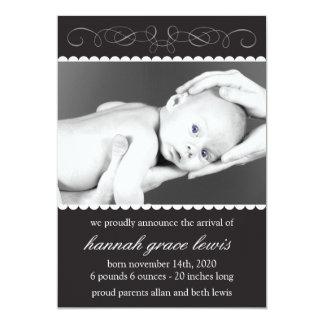 Flourish New Baby Announcements (Black)