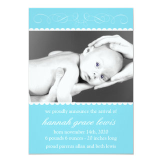 Flourish New Baby Announcements (Blue)