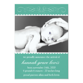 Flourish New Baby Announcements (Dark Green)