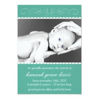 Flourish New Baby Announcements (Dark Green)