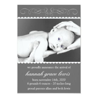 Flourish New Baby Announcements (Gray)