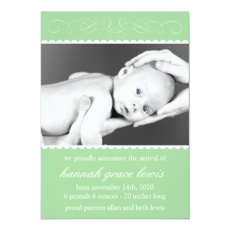 Flourish New Baby Announcements (Green)