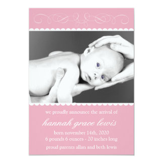 Flourish New Baby Announcements (Mauve Pink)
