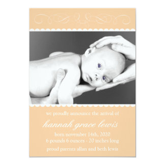 Flourish New Baby Announcements (Orange)