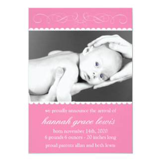 Flourish New Baby Announcements (Pink)
