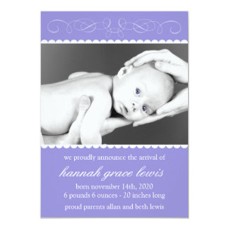 Flourish New Baby Announcements (Plum Purple)