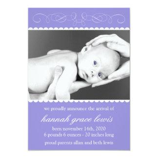 Flourish New Baby Announcements (Plum Purple)