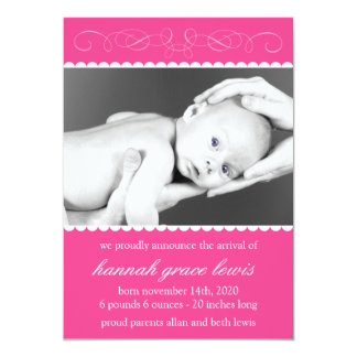 Flourish New Baby Announcements (Raspberry Pink)
