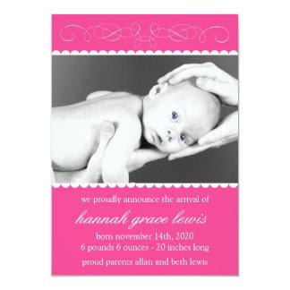 Flourish New Baby Announcements (Raspberry Pink)