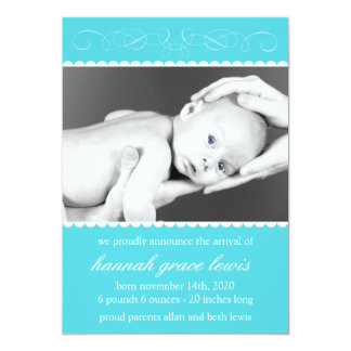 Flourish New Baby Announcements (Teal)