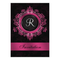 flourish pink monogram elegant wedding Invitations