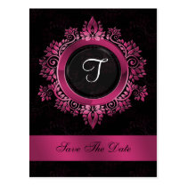 flourish pink monogram wedding save the date postcard