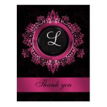 flourish pink monogram wedding thank you postcard
