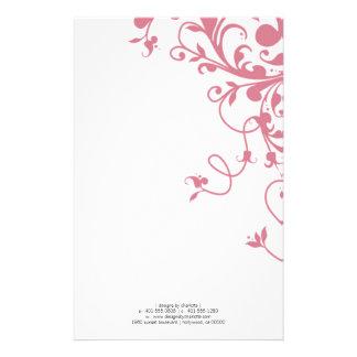 flourish; pink stationery