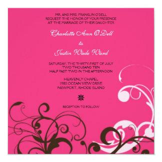 flourish; pink wedding card