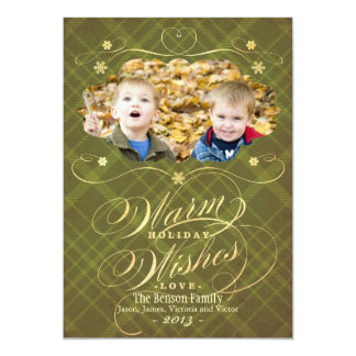 Flourish Plaid Calligraphy Warm Wishes Photo Card