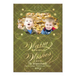 "Flourish Plaid Calligraphy Warm Wishes Photo Card 5"" X 7"" Invitation Card"