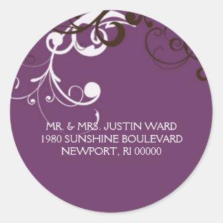 flourish; purple address classic round sticker