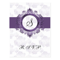 flourish purple monogram elegant wedding RSVP Postcard