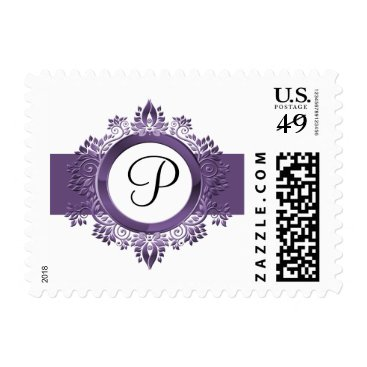 flourish purple monogram elegant wedding stamps