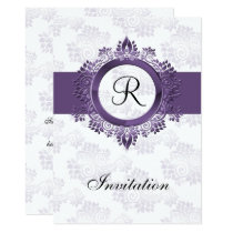 flourish purple monogram  wedding Invitations