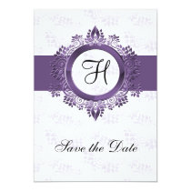 flourish purple monogram wedding save the date card