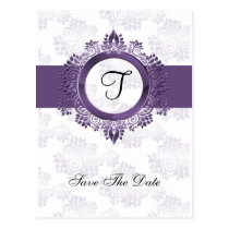 flourish purple monogram wedding save the date postcard