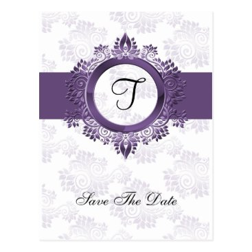 flourish purple monogram wedding save the date postcard
