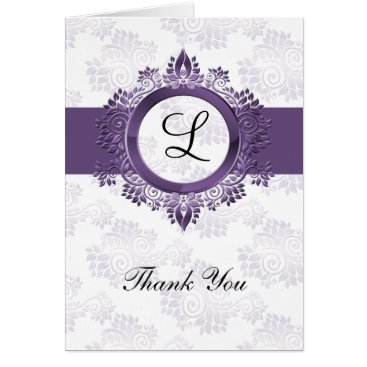 flourish purple monogram wedding thank you card